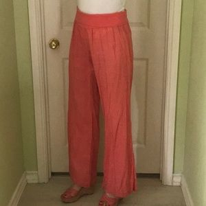 Taylor and Hyde coral color beach linen pants